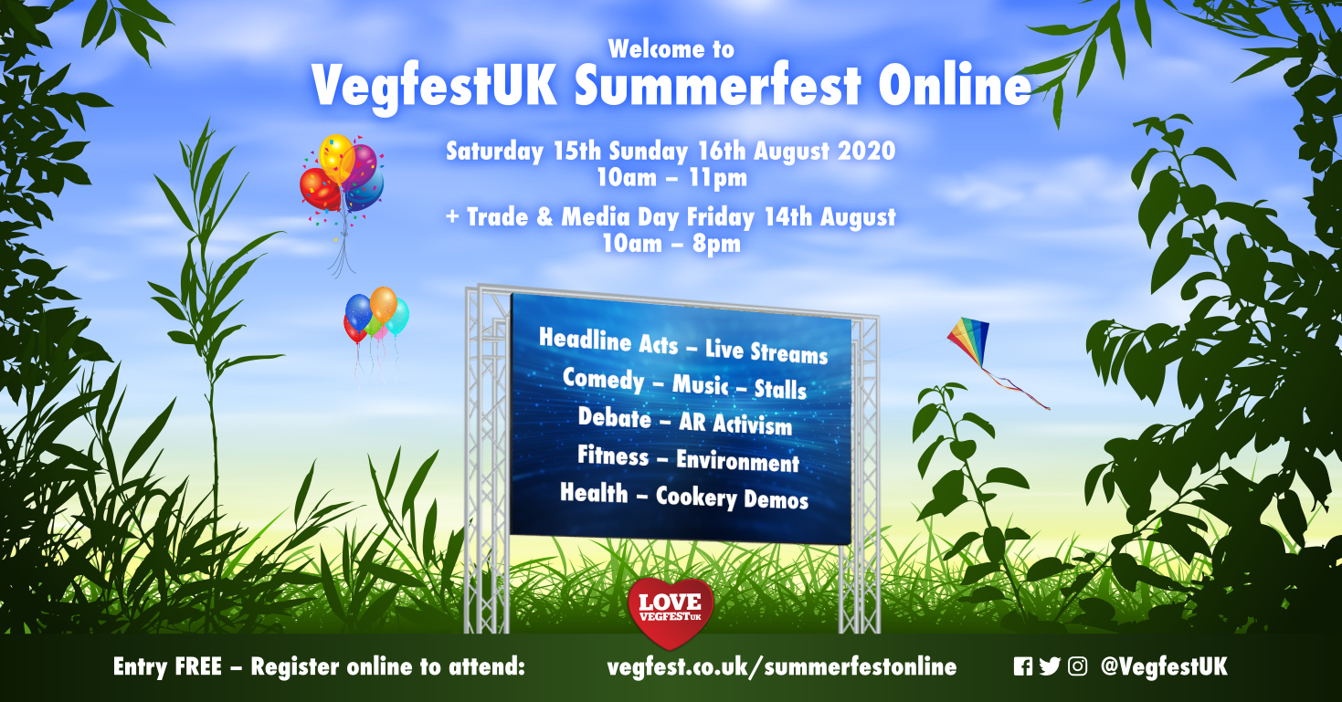 Registration open – vegan online event VegfestUK Summerfest Online set to attract thousands of visitors this August